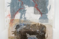 Dowager Aunt |Hand-Embellished Photo print, Collage, Acrylic & Needlework on Cotton, wire & wood | 42x22.5