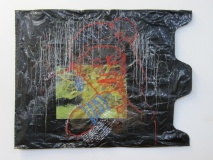 South African Artist | Solar-plate Lithography and Needlework on Trash Bag | 30 x 48